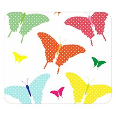 Beautiful Colorful Polka Dot Butterflies Clipart Double Sided Flano Blanket (small)