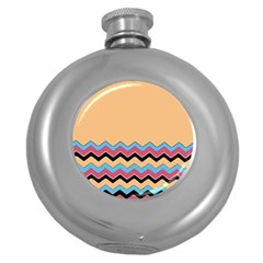 Chevrons Patterns Colorful Stripes Round Hip Flask (5 Oz) by BangZart