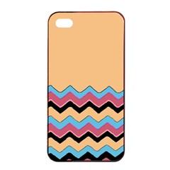 Chevrons Patterns Colorful Stripes Apple Iphone 4/4s Seamless Case (black) by BangZart