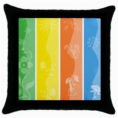 Floral Colorful Seasonal Banners Throw Pillow Case (black) by BangZart