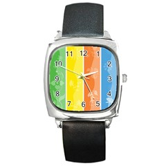 Floral Colorful Seasonal Banners Square Metal Watch by BangZart