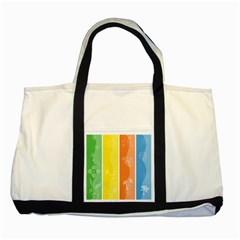 Floral Colorful Seasonal Banners Two Tone Tote Bag