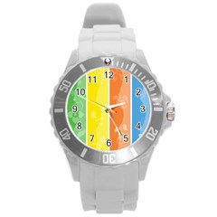 Floral Colorful Seasonal Banners Round Plastic Sport Watch (l) by BangZart