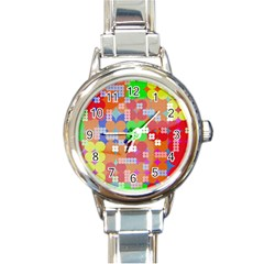 Abstract Polka Dot Pattern Round Italian Charm Watch by BangZart
