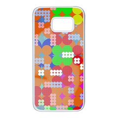 Abstract Polka Dot Pattern Samsung Galaxy S7 White Seamless Case