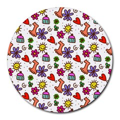 Cute Doodle Wallpaper Pattern Round Mousepads by BangZart