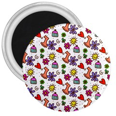 Cute Doodle Wallpaper Pattern 3  Magnets
