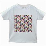 Cute Doodle Wallpaper Pattern Kids White T-Shirts Front
