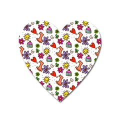Cute Doodle Wallpaper Pattern Heart Magnet by BangZart