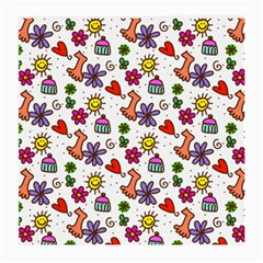 Cute Doodle Wallpaper Pattern Medium Glasses Cloth by BangZart