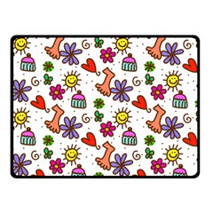 Cute Doodle Wallpaper Pattern Fleece Blanket (small) by BangZart