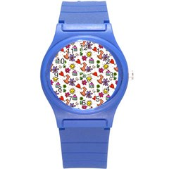 Cute Doodle Wallpaper Pattern Round Plastic Sport Watch (s) by BangZart