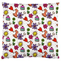 Cute Doodle Wallpaper Pattern Large Cushion Case (one Side) by BangZart
