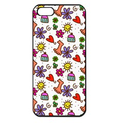 Cute Doodle Wallpaper Pattern Apple Iphone 5 Seamless Case (black) by BangZart