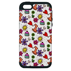 Cute Doodle Wallpaper Pattern Apple Iphone 5 Hardshell Case (pc+silicone) by BangZart