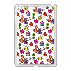 Cute Doodle Wallpaper Pattern Apple Ipad Mini Case (white) by BangZart