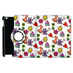 Cute Doodle Wallpaper Pattern Apple Ipad 2 Flip 360 Case by BangZart