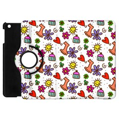 Cute Doodle Wallpaper Pattern Apple Ipad Mini Flip 360 Case by BangZart