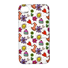 Cute Doodle Wallpaper Pattern Apple Iphone 4/4s Hardshell Case With Stand by BangZart