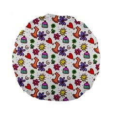 Cute Doodle Wallpaper Pattern Standard 15  Premium Flano Round Cushions by BangZart