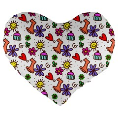 Cute Doodle Wallpaper Pattern Large 19  Premium Flano Heart Shape Cushions by BangZart