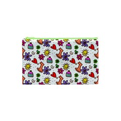 Cute Doodle Wallpaper Pattern Cosmetic Bag (xs) by BangZart