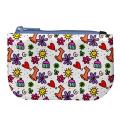 Cute Doodle Wallpaper Pattern Large Coin Purse by BangZart