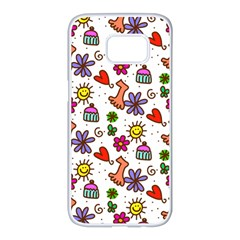 Cute Doodle Wallpaper Pattern Samsung Galaxy S7 Edge White Seamless Case