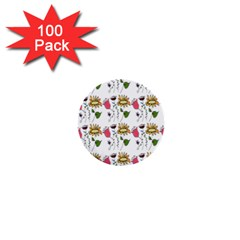 Handmade Pattern With Crazy Flowers 1  Mini Buttons (100 Pack)  by BangZart