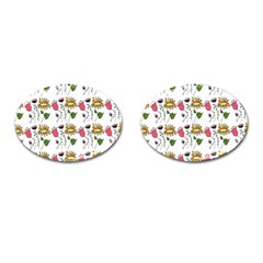 Handmade Pattern With Crazy Flowers Cufflinks (oval)