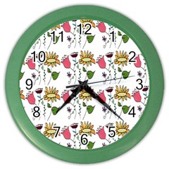 Handmade Pattern With Crazy Flowers Color Wall Clocks by BangZart