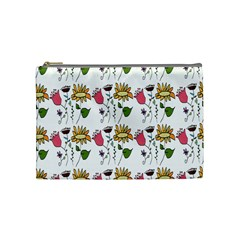Handmade Pattern With Crazy Flowers Cosmetic Bag (medium)  by BangZart