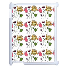 Handmade Pattern With Crazy Flowers Apple Ipad 2 Case (white) by BangZart