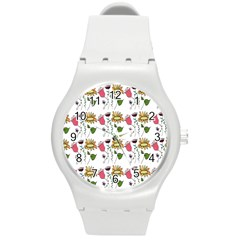 Handmade Pattern With Crazy Flowers Round Plastic Sport Watch (m) by BangZart