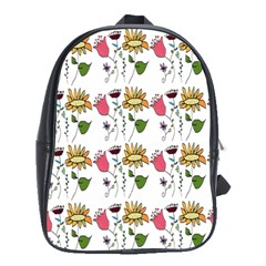 Handmade Pattern With Crazy Flowers School Bags (xl)  by BangZart