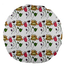 Handmade Pattern With Crazy Flowers Large 18  Premium Flano Round Cushions by BangZart