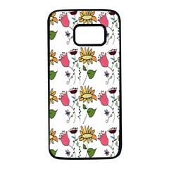 Handmade Pattern With Crazy Flowers Samsung Galaxy S7 Black Seamless Case by BangZart