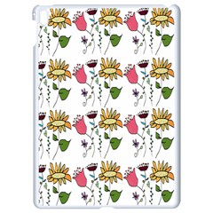 Handmade Pattern With Crazy Flowers Apple Ipad Pro 9 7   White Seamless Case