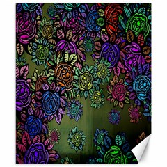 Grunge Rose Background Pattern Canvas 8  X 10  by BangZart