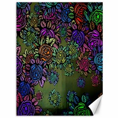 Grunge Rose Background Pattern Canvas 36  X 48   by BangZart