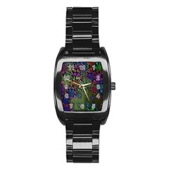 Grunge Rose Background Pattern Stainless Steel Barrel Watch