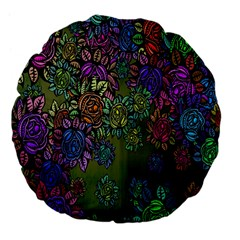 Grunge Rose Background Pattern Large 18  Premium Flano Round Cushions by BangZart