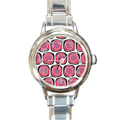 Wheel Stones Pink Pattern Abstract Background Round Italian Charm Watch by BangZart
