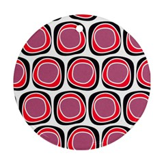 Wheel Stones Pink Pattern Abstract Background Ornament (round) by BangZart