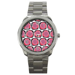 Wheel Stones Pink Pattern Abstract Background Sport Metal Watch by BangZart