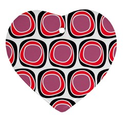 Wheel Stones Pink Pattern Abstract Background Heart Ornament (two Sides) by BangZart