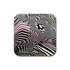 Abstract Fauna Pattern When Zebra And Giraffe Melt Together Rubber Square Coaster (4 Pack)  by BangZart