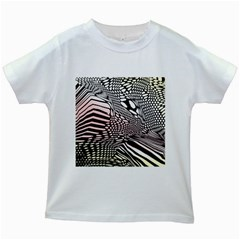 Abstract Fauna Pattern When Zebra And Giraffe Melt Together Kids White T Shirts by BangZart