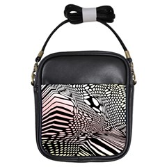 Abstract Fauna Pattern When Zebra And Giraffe Melt Together Girls Sling Bags by BangZart