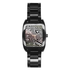 Abstract Fauna Pattern When Zebra And Giraffe Melt Together Stainless Steel Barrel Watch by BangZart